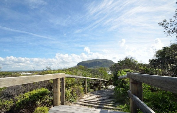 Boardwalk-Mt-Coolum-view-to-estate-from-beach-